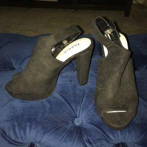 Black Platform Open Toe Heels, Size 7.5